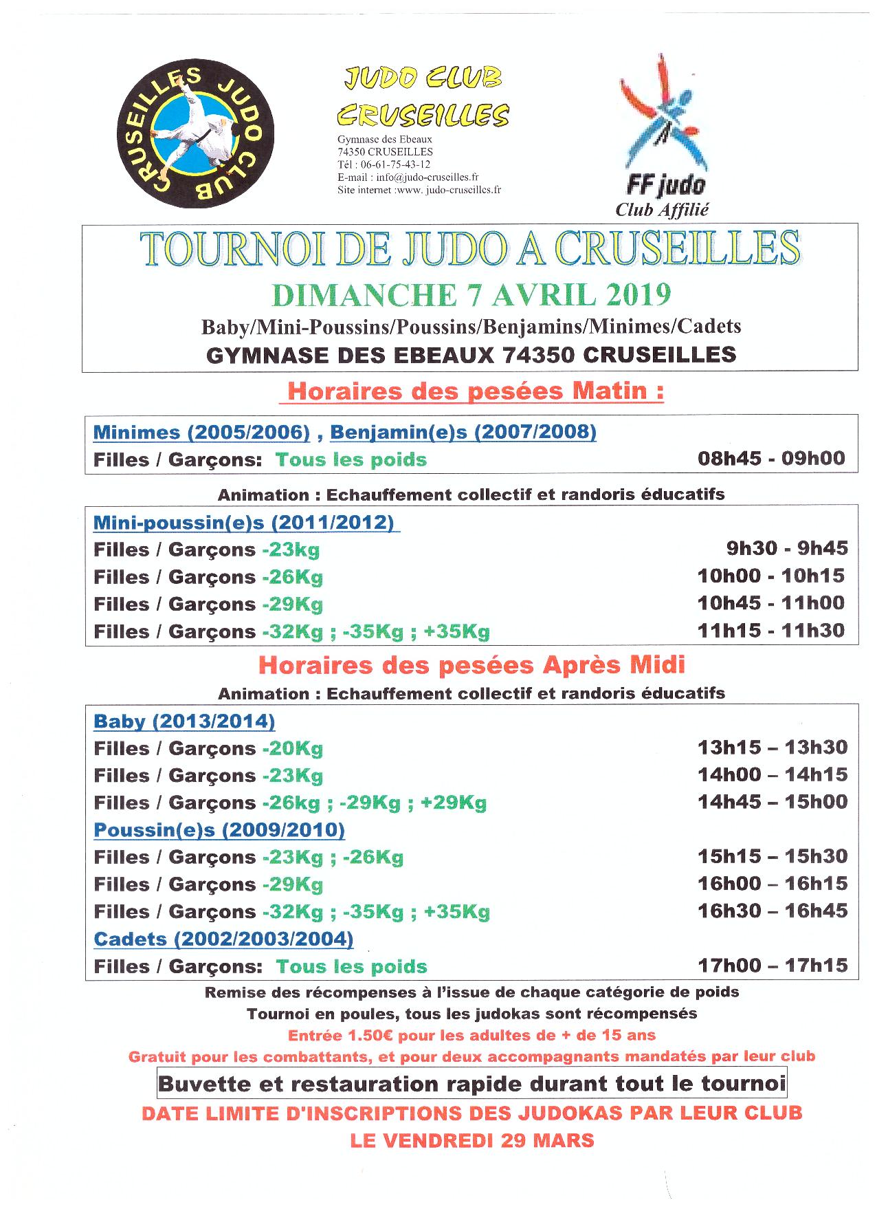 Tournoi Cruseilles @ Gymnase des Ebeaux