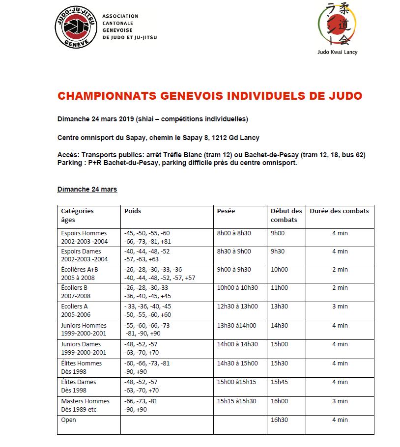 Championnat Genevois @ Centre Sportif Le Sapay