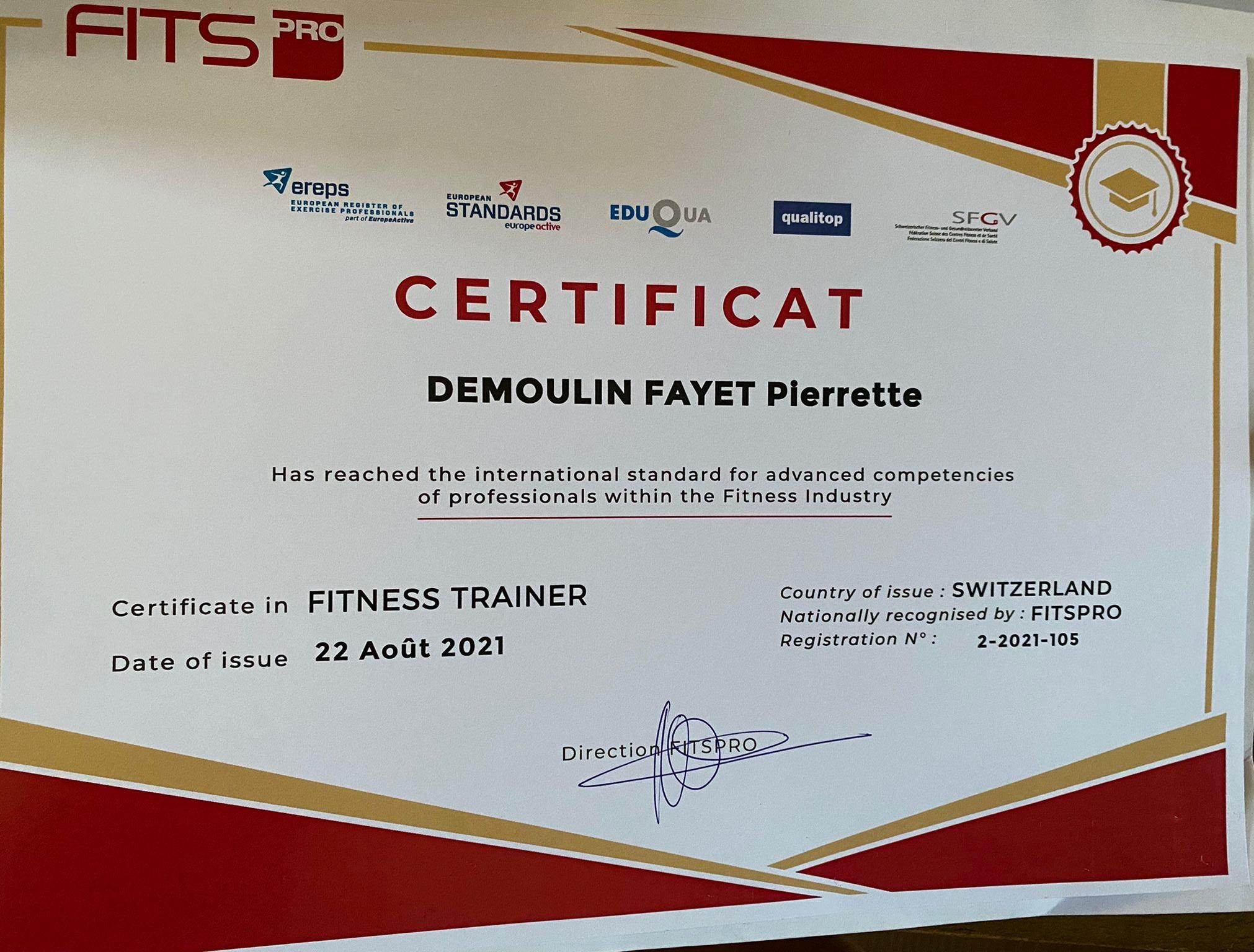 Certificat Fitness